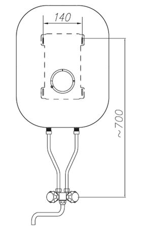 Vitotherm Over sink water heater 10l with tap