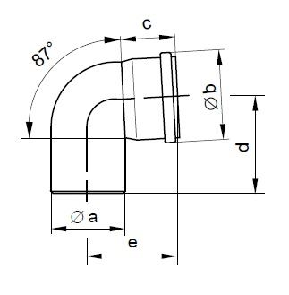 110mm Flue Pipe 87 Degree Bend Diag