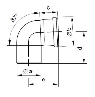 PP Flue Pipe 87 Degree Bend Diag