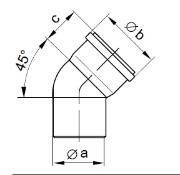 PP Flue Pipe 45 Degree Bend Diag