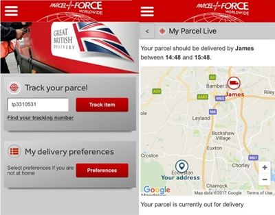 Parcelforce Track Your Parcel App Example