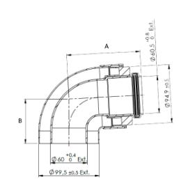 Flue 60/100mm Horizontal flue kit - Reduced height